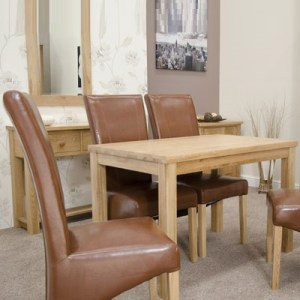 Elegance Oak Dining Table with 4 Tan Chairs   Robson Furniture Elegance Oak Dining Table with 4 Tan Chairs 12583