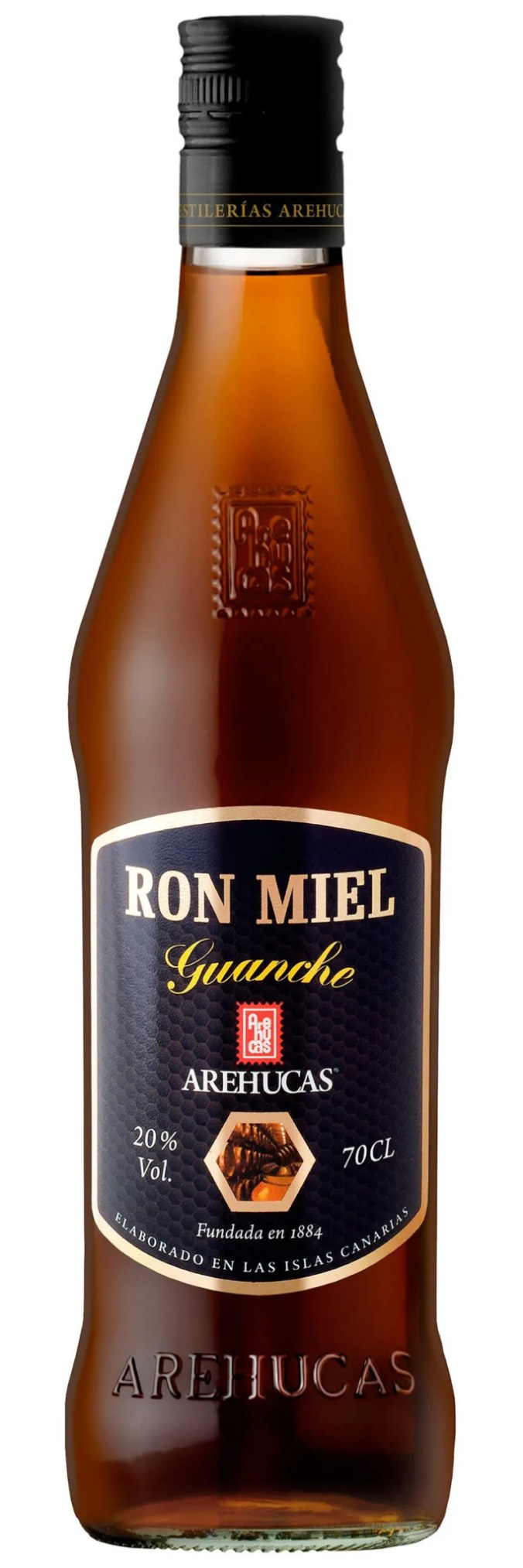 Ron Miel Guanche rum liqueur from Arehucas Distillery in the Canary Islands
