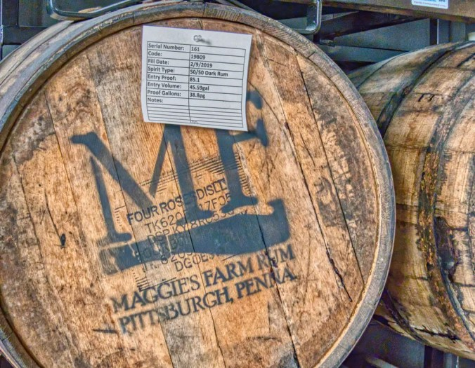 aging barrels at Maggie's Farm Rum Distillery