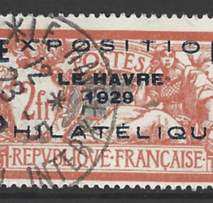 France. SG 470, the 1929 Le Have Philatelic Exhibition 2 francs, fine used.