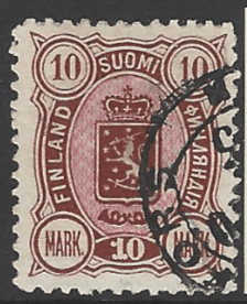 Finland SG 122, the 1890 10m brown and rose, fine used.