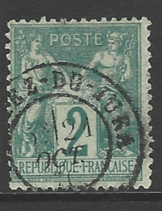 France. SG 213, the 1876 Peace and Commerce 2c, fine used.