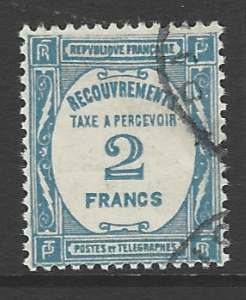 France SG D460  2 francs greenish-blue 1927-31 Postage Due issue, Fine Used