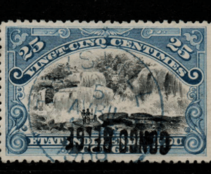 Belgian Congo SG 39A, the 1909 Handstamp on 25c (reversed overprint), fine used.