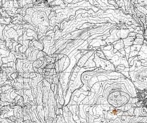 Cartografia I.G.M., tav. Suio, F. 171, particolare con l'indicazione di M. la Frascara e M. S. Croce