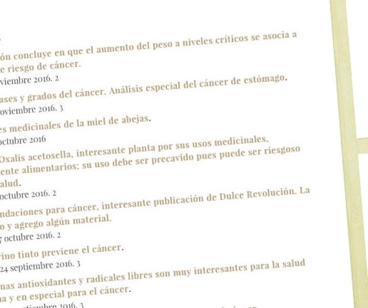 Listado cronológico de publicaciones en rochade.cl que tienen relación con cáncer