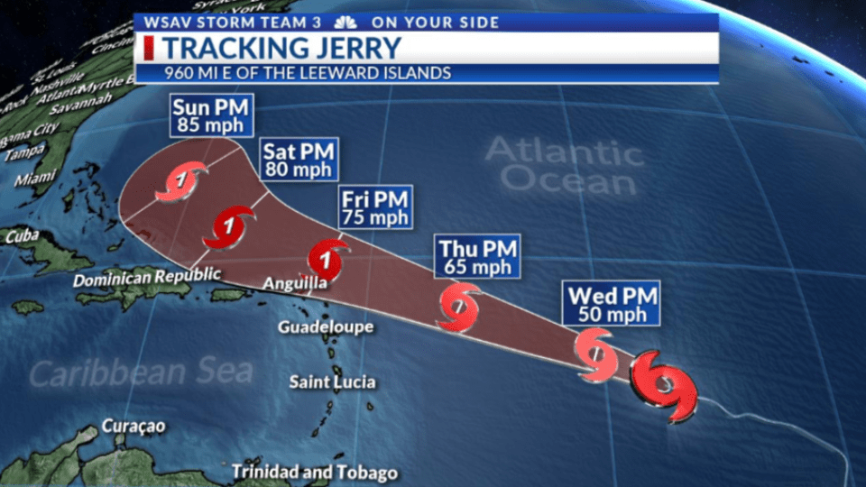 Photo of Tropical Storm Jerry's projected path.