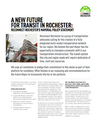 A New Future For Transit In Rochester: Reconnect Rochester's Mayoral Policy Statement
