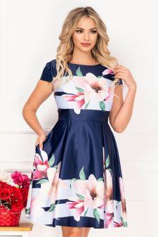 Rochie de ocazie tafta bleumarin cu imprimeu floral