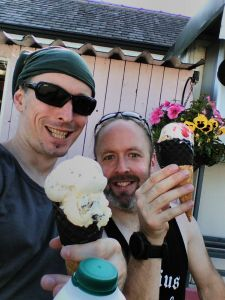 Andy and Kelly enjoy an Our Cow Molly ice cream