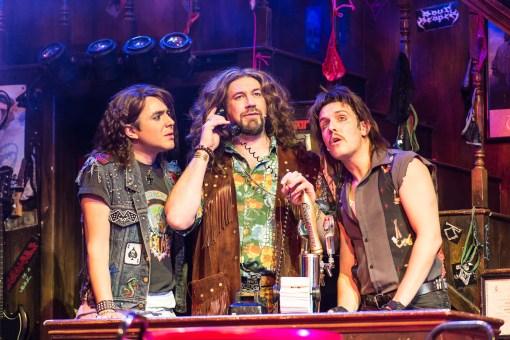 Noel Sullivan (Drew), Daniel Fletcher (Dennis Dupree) and Chris Southgate (Lonny) in Rock of Ages The Musical UK Tour Credit Manuel Harlan