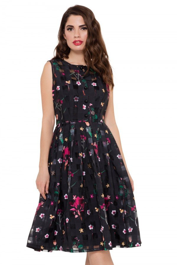 Voodoo Vixen, Betsy Floral Black Dress