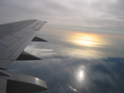 Sun reflection from an airplane