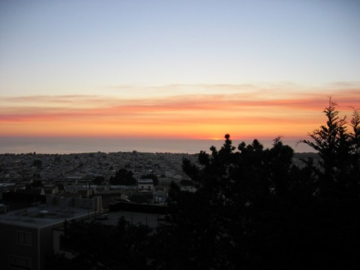 Setting sun viewed from San Francisco