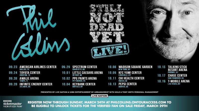 Phil Collins: 'Still Not Dead Yet, Live!' US Tour Announced for the