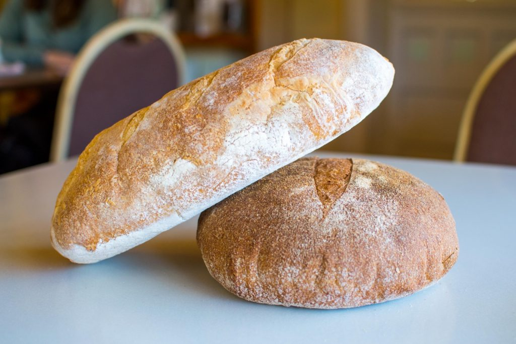 French baguette, multi-grain round loaf at Serenity Farm Bread