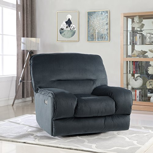 Electric Oversize Linen Fabric Living Room Swivel Recliner Gaming Chair With Usb Connection Dark Blue Rocker Recliner Shop