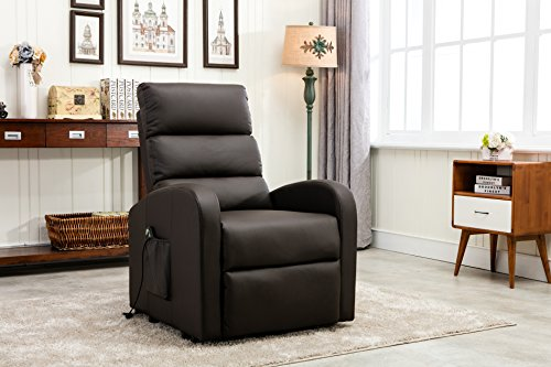Divano Roma Furniture Classic Plush Bonded Leather Power Lift Recliner Living Room Chair Brown Rocker Recliner Shop