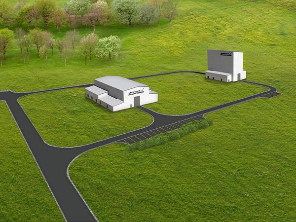 Graphic rendition of Aerojet Rocketdyne Camden Operations' Engineering, Manufacturing and Development facility due to open in spring of 2020. The facility will support several large solid rocket motor opportunities, including the Ground Based Strategic Deterrent program, hypersonics and missile defense targets.