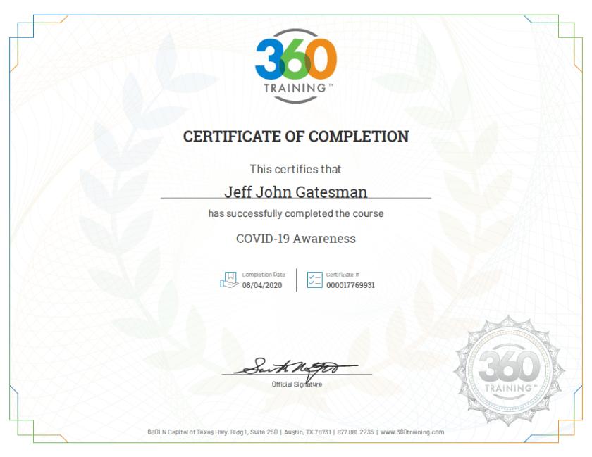 Jeff Covid-19 Certificate