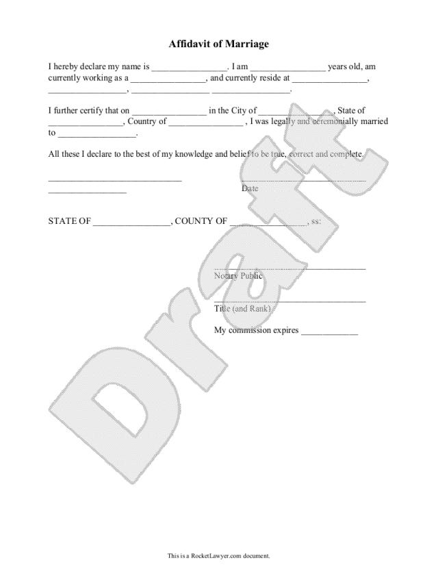 Free Affidavit of Marriage  Free to Print, Save & Download