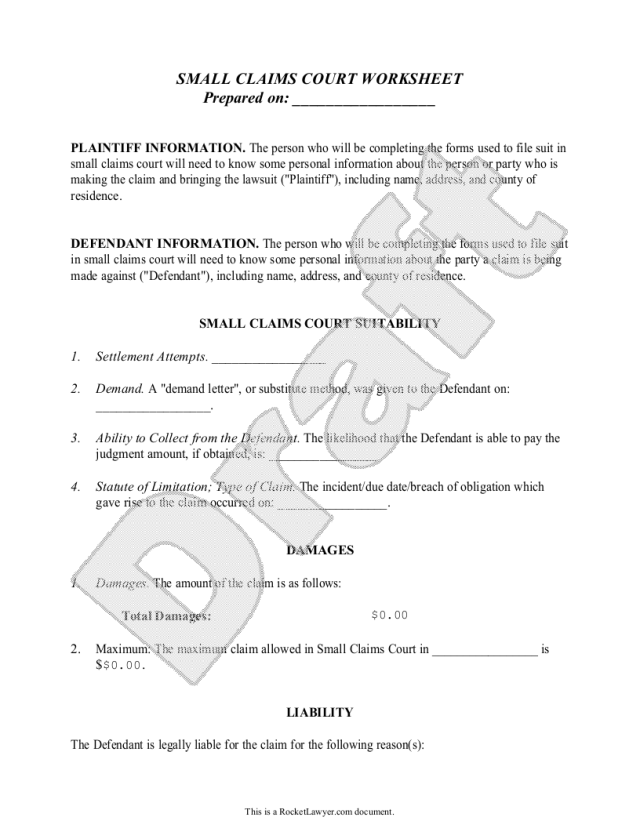 Free Small Claims Worksheet  Free to Print, Save & Download