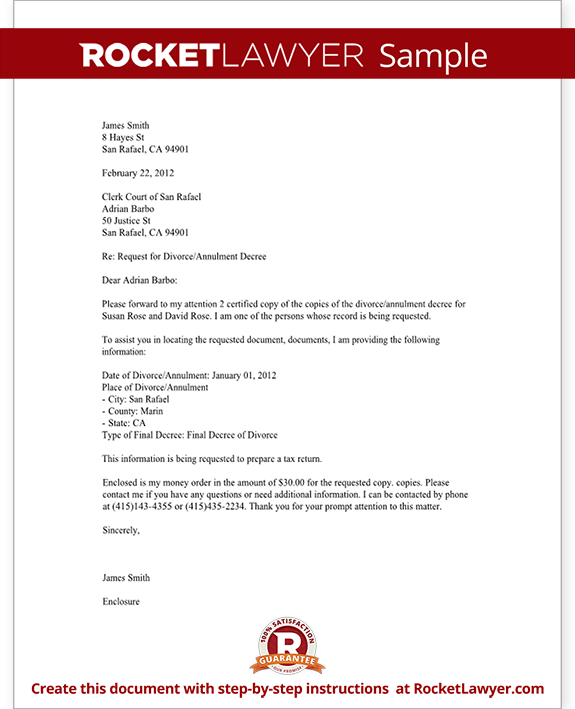 divorce records request letter template with sample