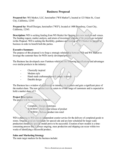 Sample Business Proposal Example Proposal Form
