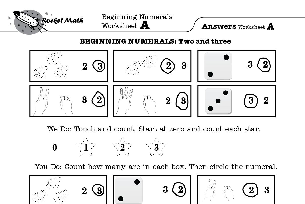 Beginning Numerals Counting Objects Kindergarten