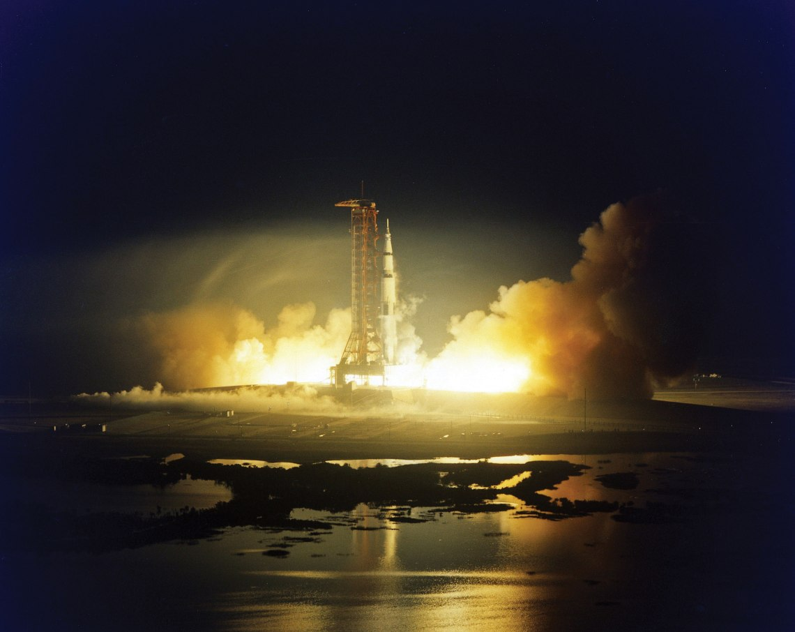The final Saturn V rocket to carry mankind into space launches on the Apollo 17 mission. Credit: NASA via J.L. Pickering/Retro Space Images
