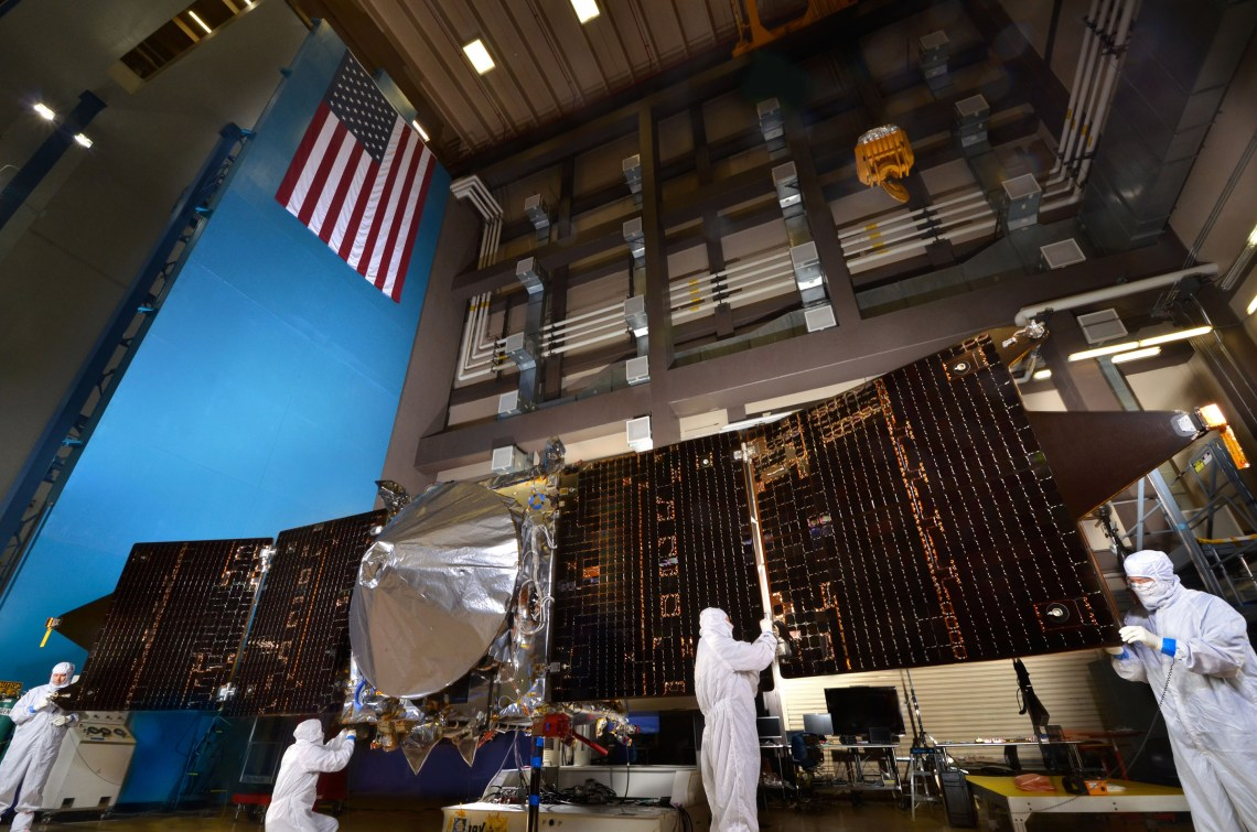 NASA's MAVEN Mars orbiter with both solar arrays fully deployed at Lockheed Martin's RAL facility near Denver. Photo: Lockheed Martin