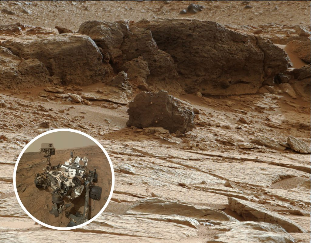 Point Lake Outcrop in Gale Crater (NASA/JPL-Caltech/MSSS), with inset self portrait of Curiosity (NASA/JPL-Caltech/MSSS)