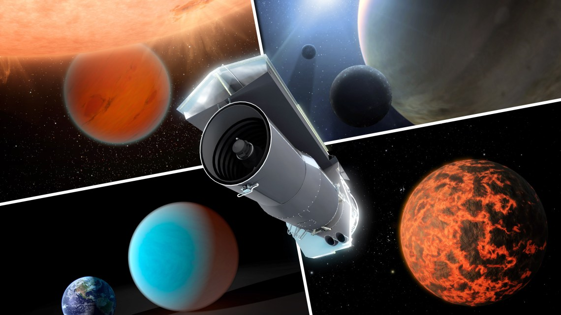 This artist's concept shows Spitzer surrounded by examples of exoplanets the telescope has examined.  Image: NASA/JPL-Caltech