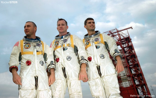 Astronauts Gus Grissom, Ed White, and Roger Chaffee in front of Launch Complex 34. Credit: NASA via Retro Space Images