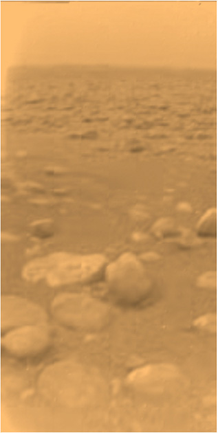 The first color view of Titan's surface returned by the ESA Huygens probe. Credit: ESA/NASA/JPL/Univ. of Arizona