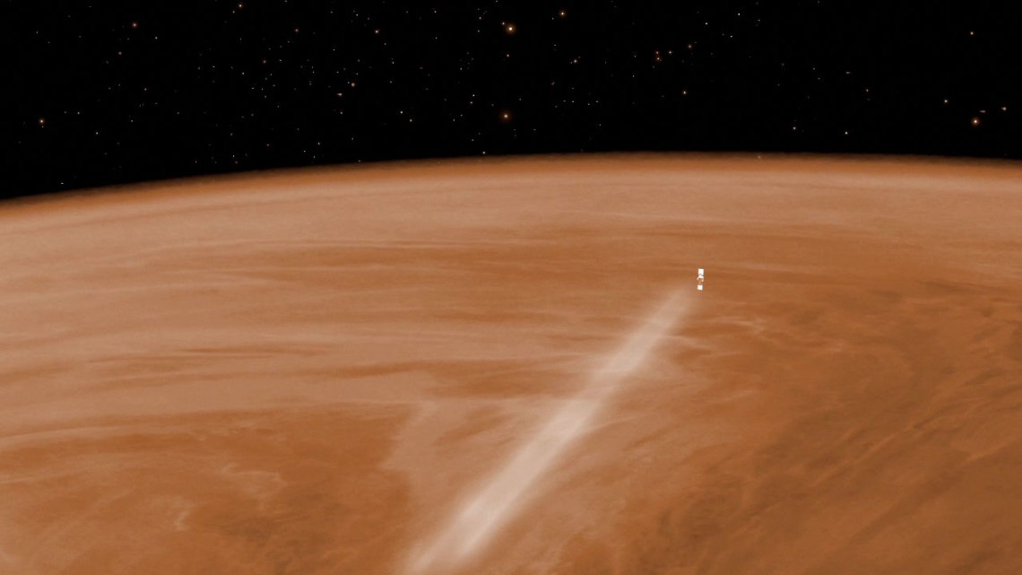 Artist's impression of Venus Express orbiting Venus.  Credit: ESA