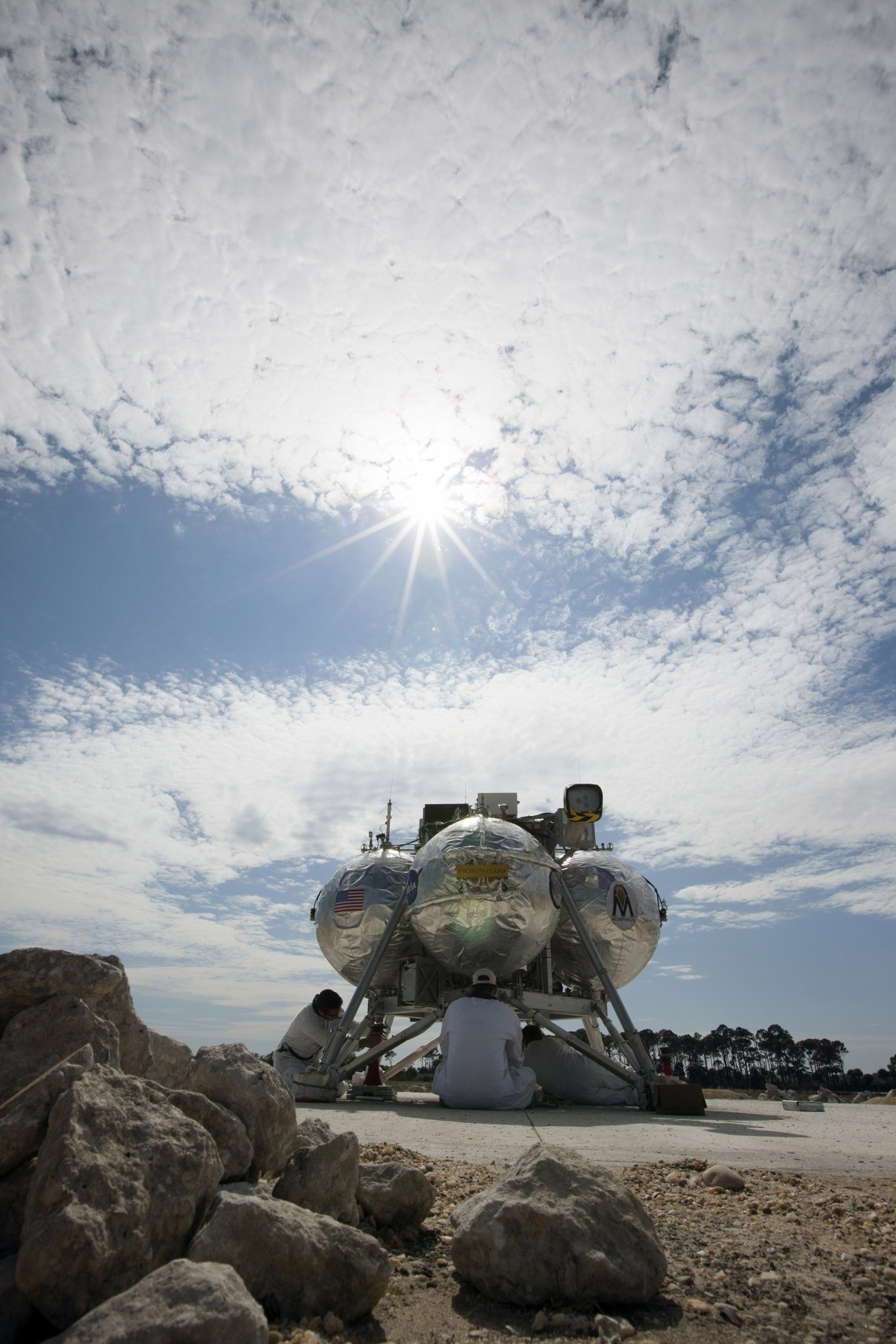 The Project Morpheus prototype lander during test at Kennedy Space Center in Florida. Credit: NASA/Kim Shiflett