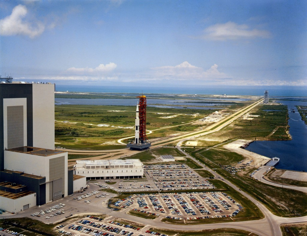 May 20, 1969. Saturn V SA-506, which will launch the Apollo 11 crew toward the Moon, is slowly driven out of the Vehicle Assembly Building on May 20, 1969.