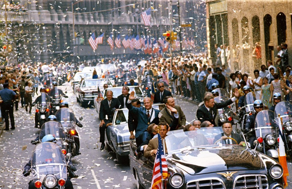 New York City welcomes Apollo 11 crewmen in a showering of ticker tape in a parade termed as the largest in the city's history on Aug. 13, 1969.
