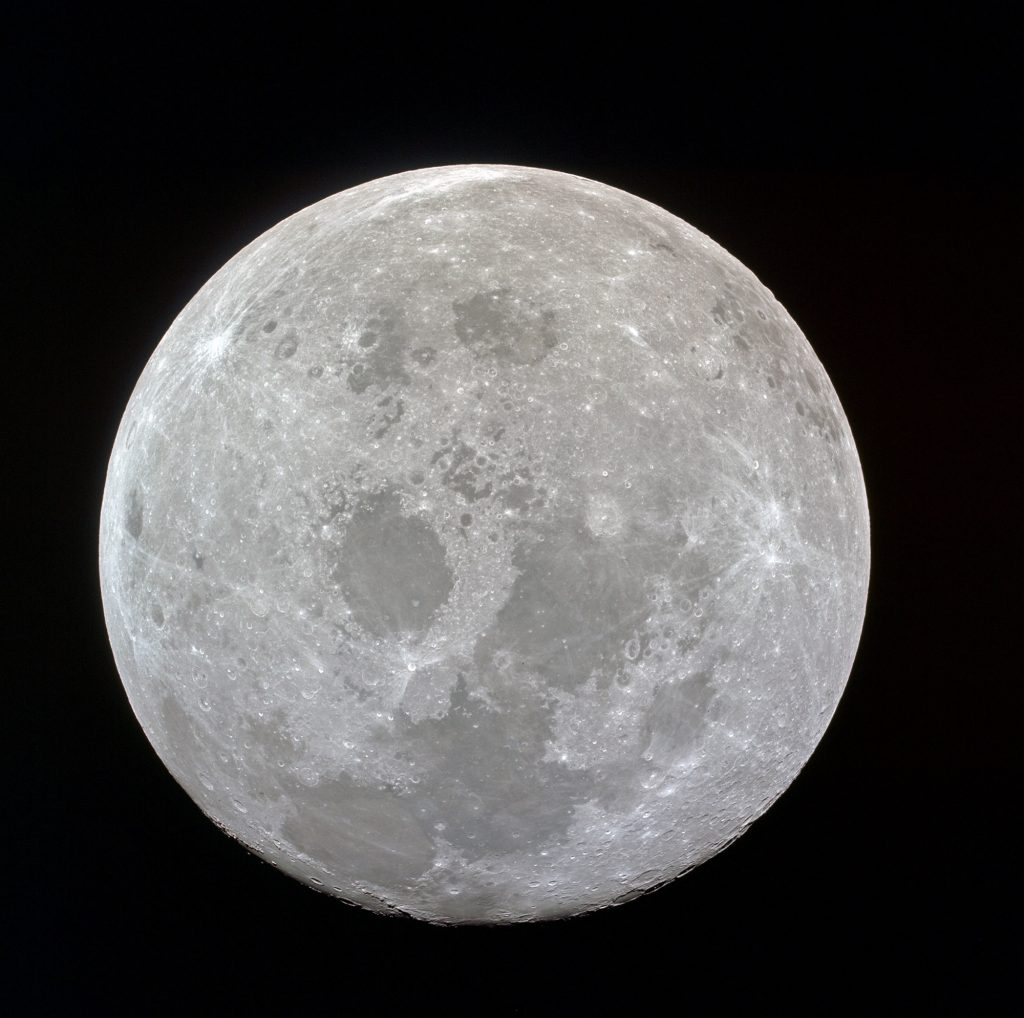The full lunar disc photographed from the Apollo 11 spacecraft during its transearth journey homeward.