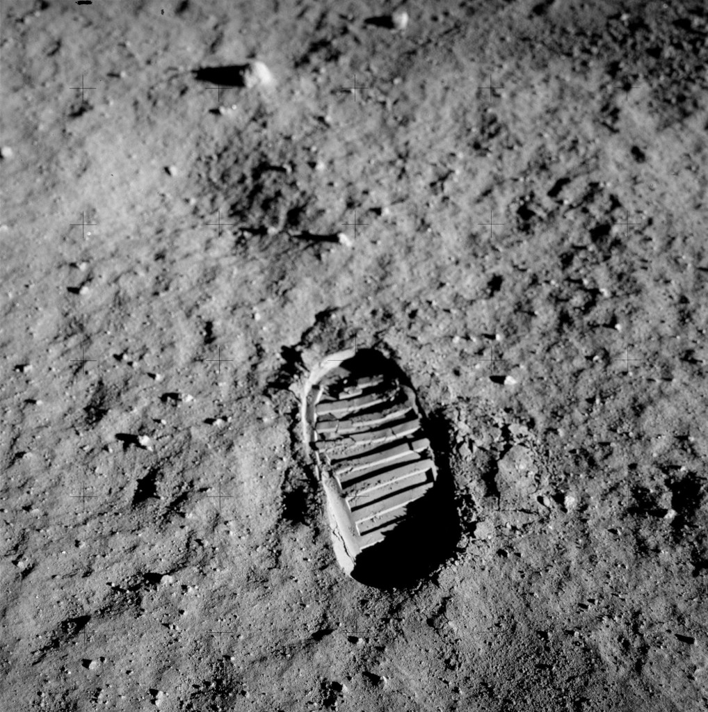 Edwin 'Buzz' Aldrin's bootprint in the lunar soil.