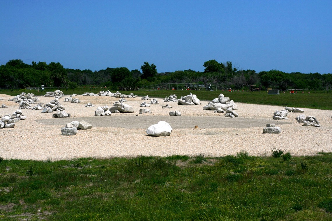 The boulder-strewn hazard avoidance field built to test the Morpheus lander at KSC.  Credit: Sherry Valare