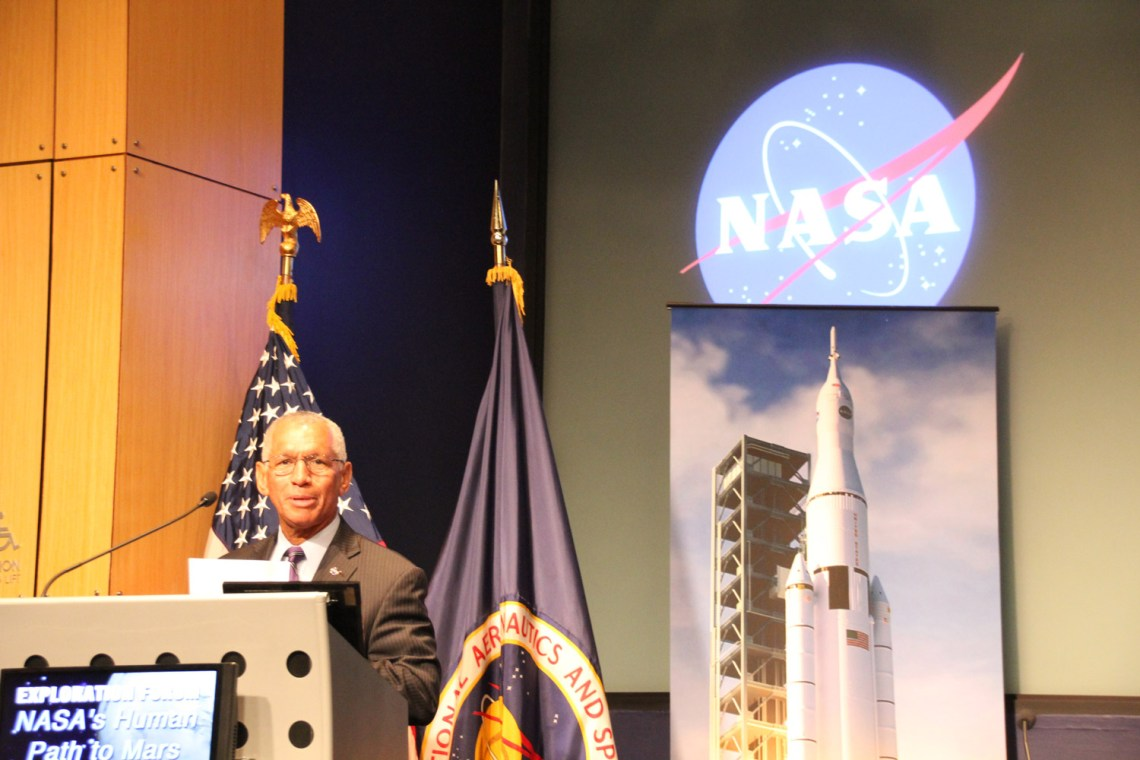 NASA Administrator Charles Bolden discusses the future of human spaceflight during the exploration forum at NASA Headquarters, in Washington, DC. Credit: Ken Kremer