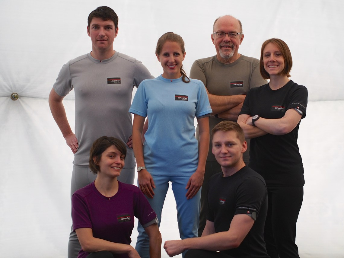 HI-SEAS 2 crew members are: Lucie Poulet, Ross Lockwood (front row), Annie Caraccio, Tiffany Swarmer (middle row) Casey Stedman and Ron Williams (back row).  Photo by Ross Lockwood.