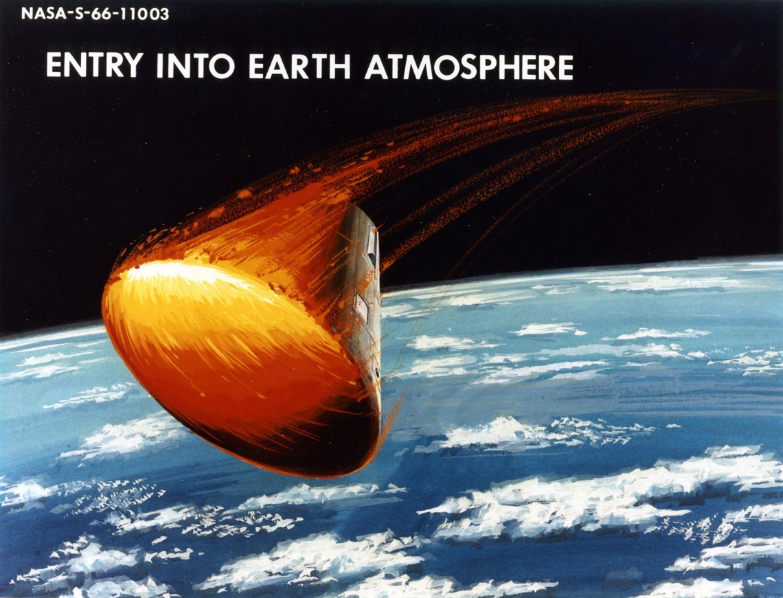 Artist's rendering of an Apollo Command Module's fiery re-entry and the eroding away its ablative heat shield. Credit: NASA via Retro Space Images