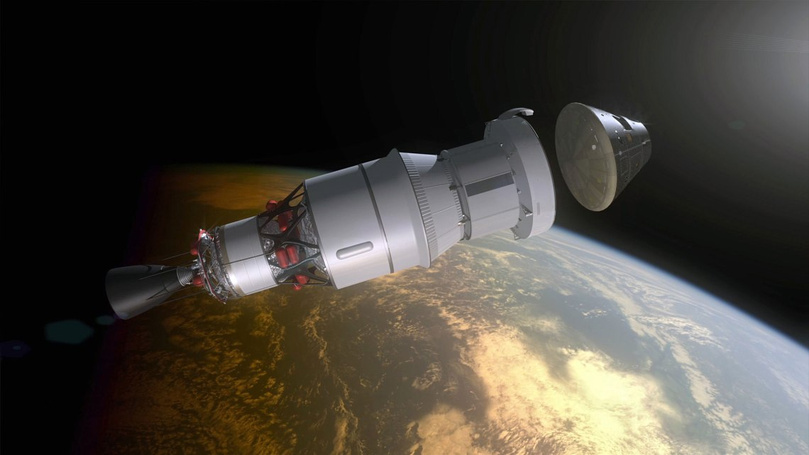 Artist's rendering of the Orion capsule as it separates from the Service Module during its upcoming test flight.  Credit: NASA
