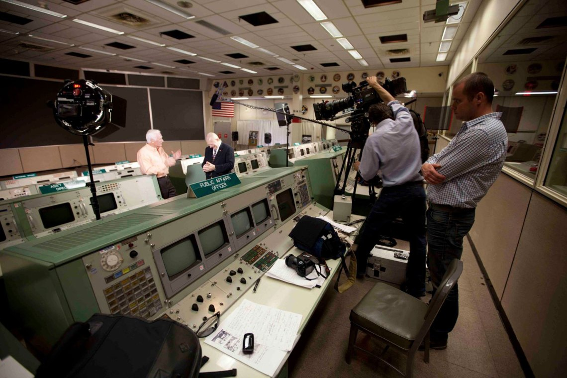 Gene Kranz and Gene Cernan filming in Mission Control Houston.  Credit: Mark Stewart Productions)