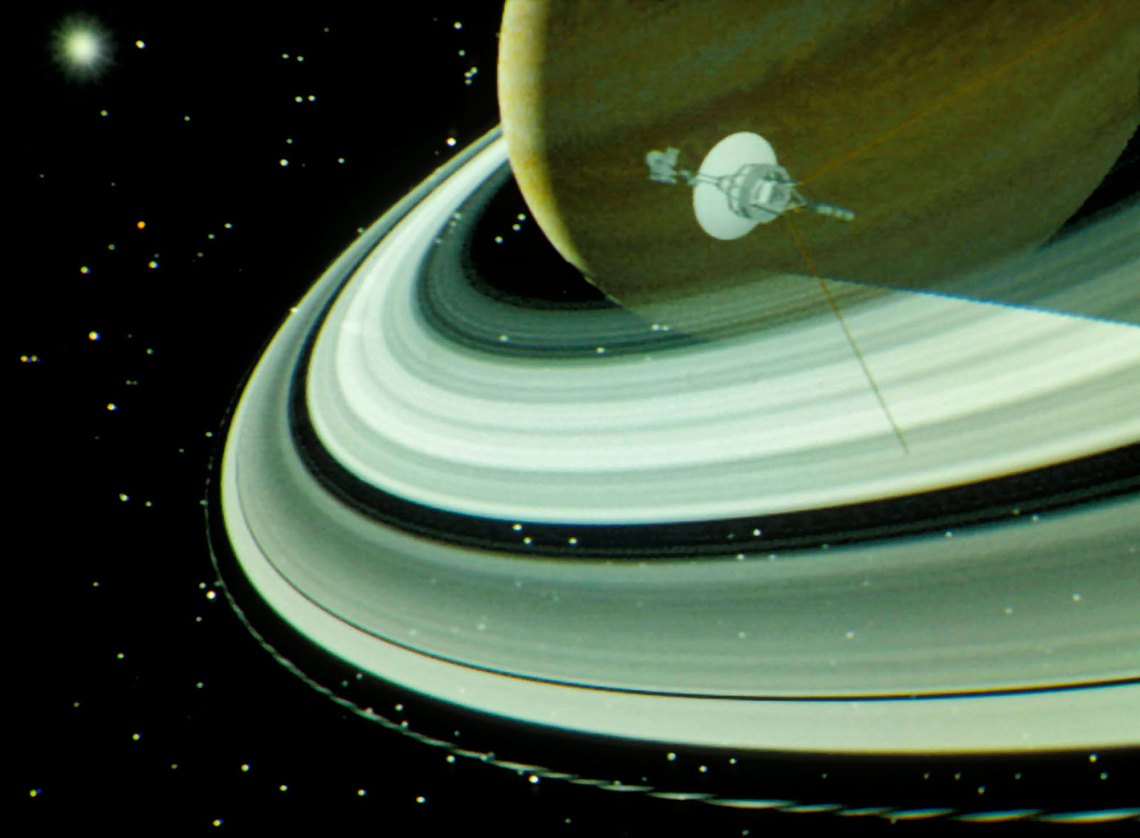 Image from the computer animation of the Voyager Saturn encounter, created by Blinn and Kohlhase, which was so important for public outreach for the missions. Credit: Charles Kohlhase