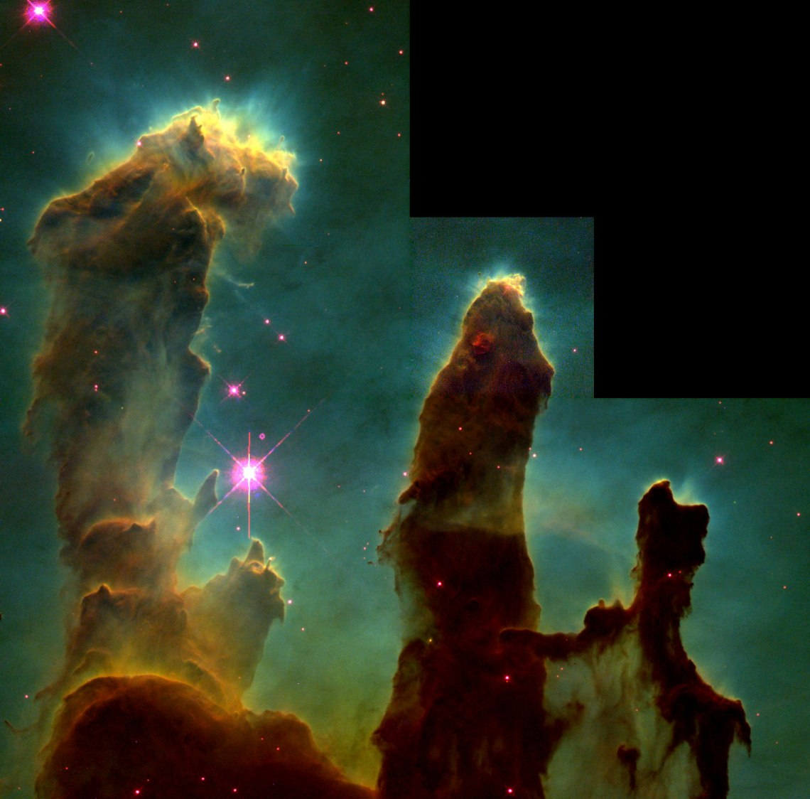 Inside the Eagle Nebula stand the Pillars of Creation portrayed in the Hubble Palette as captured by the Hubble Space Telescope.  Credit: NASA/ESA/STScI/J. Hester and P. Scowen (Arizona State University)