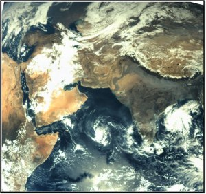 First image of the Earth taken by the Mars Orbiter Spacecraft taken on Nov 19, 2013 from 67975 km altitude.  Credit: ISRO